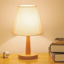 Tapered Shade Night Stand Light Minimalist Fabric Single Beige Table Lighting with Wood Pedestal