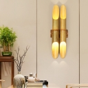 Double Bamboo Pipe Wall Lighting Ideas Asia 4 Bulbs Beige Up and Down Wall Sconce for Guest Room