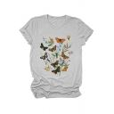 Basic Summer Rolled Short Sleeve Crew Neck Butterfly Printed Slim Fit Tee Top for Women