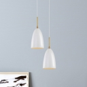 Steel Bell Pendulum Light Nordic 1-Light White Ceiling Pendant with Adjustable Joint