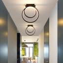 Dual Loop Flush Lighting Minimalist Acrylic LED Black Flush Mount Lamp in White/Warm Light