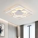 White Square and Arc Frame Ceiling Flush Modern LED Acrylic Flush Mount Lighting in White/Warm Light, 18