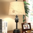Taper Script Printing Fabric Table Lamp Rural 1 Bulb Living Room Night Light in Black