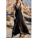 Pretty Beach Womens Sleeveless Deep V-Neck Floral Embroidered Fringe High Slit Button Down Maxi Pleated Flowy Tank Dress