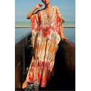 Bohemian Womens Batwing Sleeve Deep V-Neck Flower Print Maxi Oversize Kaftan Dress in Red