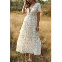Pretty Girls Short Sleeve V-Neck Ditsy Floral Printed Ruffled Trim Split Side Maxi Pleated Flowy Dress