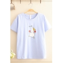 Popular Girls Short Sleeve Round Neck Chinese Letter Duck Graphic Relaxed Fit Tee Top