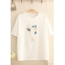 White Stylish Short Sleeve Crew Neck Penguin Balloon Embroidery Regular Fit T-Shirt for Women