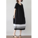 Cool Casual Girls Short Sleeve Round Neck Colorblock Linen and Cotton Midi Oversize Dress in Black
