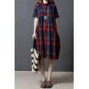 Popular Leisure Girls Short Sleeve Lapel Neck Button Up Plaid Print Linen and Cotton Midi Oversize Shirt Dress