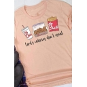 Chic Street Ladies Roll Up Sleeve Crew Neck Letter LORD'S CALORIES DON'T COUNT Food Graphic Loose Tee Top