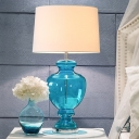 Single-Bulb Table Lamp Retro Urn Blue Glass Nightstand Light with Drum Lamp Shade