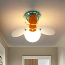 Bee Shape Metal Flush Light Cartoon 1 Light Orange Flush Ceiling Lamp with Orb White Glass Shade