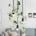 3 Light Planter Cluster Pendant Lodge Exposed Bulb Clear Glass Hanging Lamp for Living Room