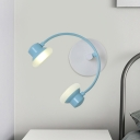 Pink/Blue Finish Headset Wall Mount Cartoon LED Metallic Wall Sconce Light for Kids Bedside