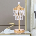 Modernist 2 Tiers Night Lamp Faceted Clear Crystal Prism LED Table Light in Gold