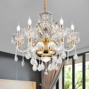 Retro Candle Style Chandelier 6/8 Heads Crystal Suspension Pendant Light with Bell Shade in Gold