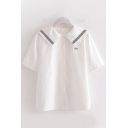 White Fish Stripe Embroidery Short Sleeve Sailor Collar Button up Loose Fit Shirt for Preppy Girls