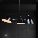 Bulb Dome Chandelier Pendant Light Warehouse Black Finish Metallic Pendulum Lamp