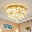 Teardrop Clear Crystal Ceiling Fixture Antique LED Bedroom Flush Mount Recessed Lighting