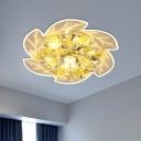Clear Crystal Leaf Ceiling Lamp Modernism LED Hallway Flush Mount Recessed Lighting