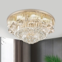 4 Bulbs Crystal Ceiling Lighting Minimalism Gold Double Layered Living Room Flushmount