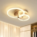 Gold 2/3-Ring Semi Flush Lighting Simple LED Acrylic Close to Ceiling Lamp for Bedroom, 16
