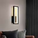Rectangle Frame Wall Sconce Simple Metallic White/Black/Gold LED Wall Mounted Light in White/Warm Light