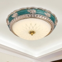 LED Dome Ceiling Mounted Light Romantic Pastoral Blue Finish White Glass Flush Mount Lamp, 12
