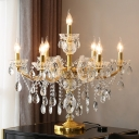 Gold Candelabra Table Lamp Victorian Crystal 7 Heads Living Room Nightstand Light