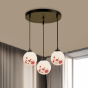 Country Sphere Multi Hanging Light Fixture 3-Light White Glass Pendant Lamp with Flower Pattern, Round/Linear Canopy