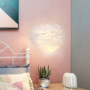 1 Light Bedside Wall Mount Lighting Modernism White Sconce Lamp with Feather Fabric Shade