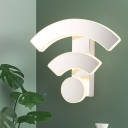 White WIFI-Like Sconce Light Fixture Nordic LED Acrylic Wall Mounted Lamp in White/Warm Light