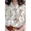 Pretty Girls Short Sleeve Notched Collar Button Up All Over Angel Letter Printed Chest Pockets Relaxed Chic Shirt
