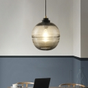 1 Head Bedside Hanging Ceiling Light Modern Black Suspension Lamp with Ball Amber/Smoke Gray Bubble Glass Shade