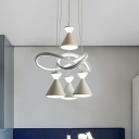 Contemporary Conical Hanging Lamp Kit Acrylic 4 Bulbs Bedroom Multi Light Pendant with Twisting Design in White