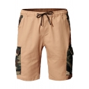 Stylish Mens Drawstring Waist Camo Print Flap Pockets Relaxed Fit Utility Cargo Shorts