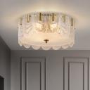 Prismatic Glass Cake Flush Light Fixture Traditional 6-Light Brass Finish Ceiling Mounted Lamp