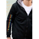 Leisure Mens Long Sleeve Zip Up Colorful Letter I'M PROUD OF YOU Print Sherpa Liner Relaxed Hoodie