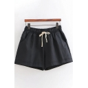Leisure Girls Drawstring Waist Solid Color Linen and Cotton Rolled Cuffs Relaxed Daily Shorts
