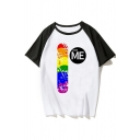 Cool Womens Raglan Short Sleeve Crew Neck Letter LOVE WINS Rainbow Stripe Graphic Colorblock Loose T Shirt in White