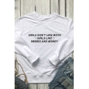 Leisure Simple Womens Long Sleeve Crew Neck Letter GIRLS DON'T LIKE BOYS GIRLS LIKE Relaxed Fit Pullover Sweatshirt