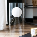 Clear Glass Cylinder Night Light Modern 1 Bulb Night Table Lamp with Plug In Cord