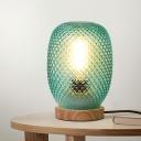 Green Glass Pineapple Table Light Designer 1 Bulb Wood Nightstand Lamp for Bedside
