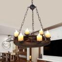 6 Lights Wheel Chandelier Lighting Warehouse Wood Marble Pendant Light Fixture for Living Room