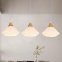 Conic Cream Glass Multiple Hanging Light Modern 3 Heads Wood Ceiling Pendant Lamp