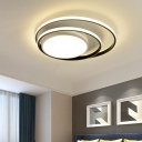Contemporary LED Ceiling Mounted Light White/Black and White Dual Rings Flush Mount with Acrylic Shade in Warm/White Light, 16
