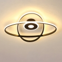 Modernist LED Ceiling Mounted Light Black/White Oval Frame Flush Mount with Acrylic Shade in Warm/White Light