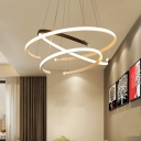 3 Tiers C-Shape Hanging Chandelier Minimalist Acrylic Black and White LED Ceiling Pendant Light for Dining Room