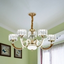 Gold Drum LED Hanging Chandelier Modernist Crystal Block 3/5-Head Living Room Suspension Pendant
